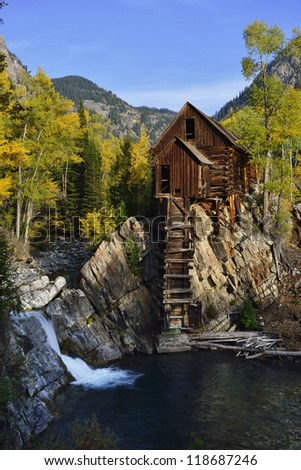 Abandoned Crystal Dead Horse Mill in Colorado during fall - stock photo