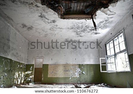 Abandoned dark room interior