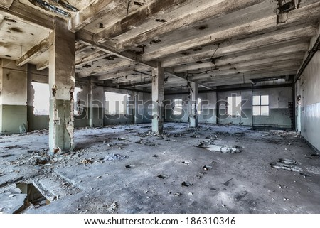 Abandoned factory after the financial crisis