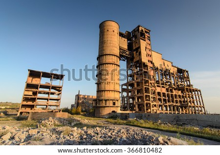 Abandoned factory at sunset