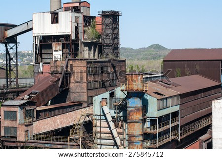 abandoned factory, factory ruins, old buildings, Ostrava city, Czech republic  - stock photo