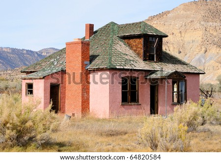 Abandoned Farmhouse  in Dying Town - stock photo