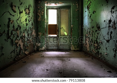 Abandoned grungy interior - stock photo