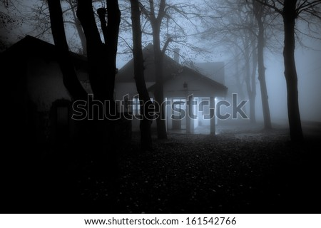 Abandoned Horror House in the Misty Forest - stock photo