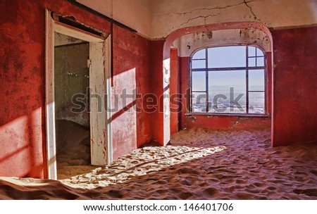 Abandoned house at ghost diamond mining town, Namibia, Africa - stock photo