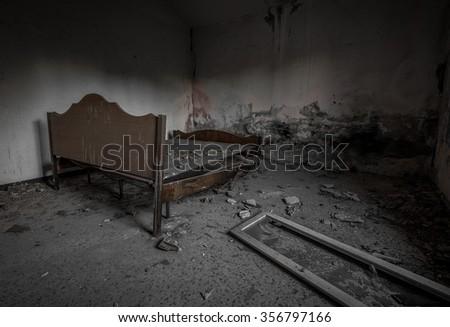 abandoned house, bedroom. - stock photo