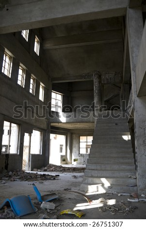 Abandoned house hall with staircase. - stock photo