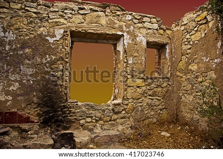 Abandoned house indoors, at the sunset (La Mussara,Tarragona, Spain) - stock photo