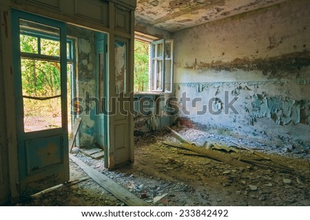 Abandoned House Interior In Chernobyl. School Of Pripyat. Chornobyl Disasters