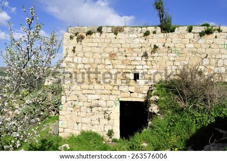 Abandoned house of Arab Lifta village near Jerusalem, Israel. - stock photo
