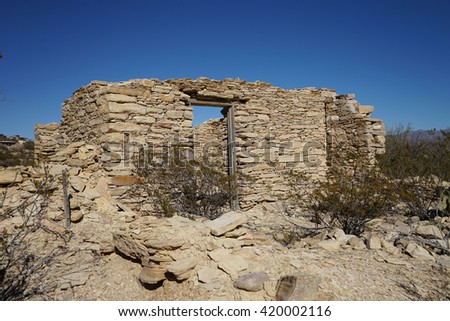 abandoned house ruin in terlingua ghost town texas  - stock photo