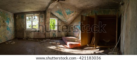 abandoned house ruined, building, mess, interior, panorama - stock photo