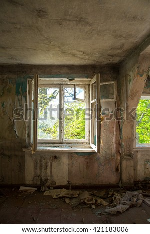 abandoned house ruined house, abandoned building, mess, ruined interior - stock photo