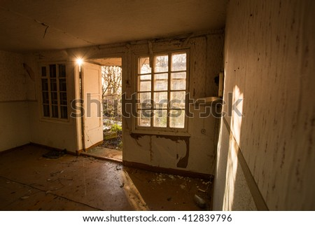 abandoned house ruined, mess, interior