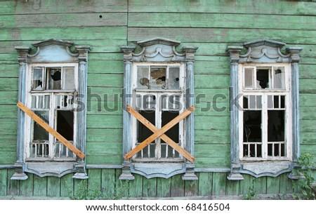 abandoned house wall - stock photo