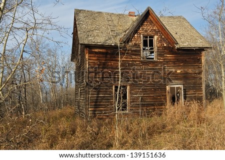 Abandoned house with dry grass and surrounded by leafless tress - stock photo