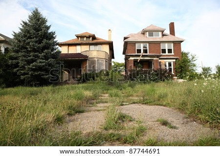 Abandoned houses in Detroit, Michigan - stock photo