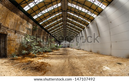 Abandoned industrial interior with bright light and some plants - stock photo