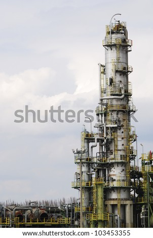 Abandoned industrial ruine of an oil refinery