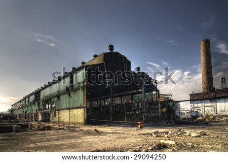 Abandoned Industrial Warehouse - stock photo