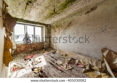 Abandoned interior in ruins of military settlement. City of Skrunda in Latvia