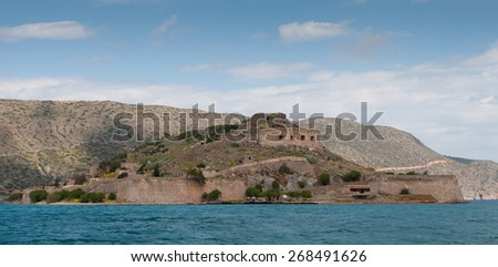 Abandoned island of Spinalonga in the Gulf of Elounda  town in the Greek island of Crete, Greece.
