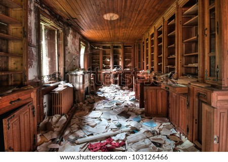 Abandoned library (HDR) - urban exploration - stock photo