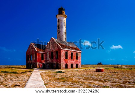 Abandoned lighthouse on Klein Curacao - stock photo