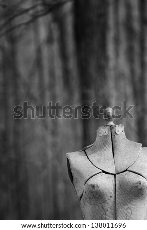 Abandoned mannequin in a forest in black and white - stock photo