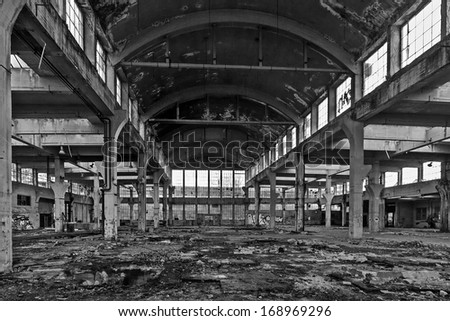 abandoned manufacturing facility black and white