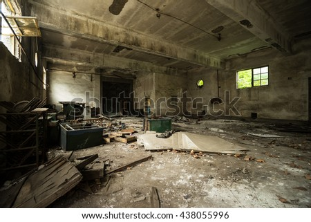 Abandoned metallurgical factory interior and building waiting for a demolition. - stock photo