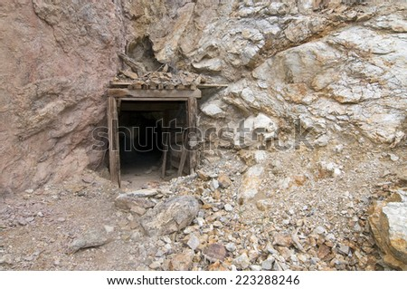 Abandoned mine entrance in Death Valley, CA - stock photo