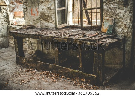 abandoned mine - rusty external equipment and buildings