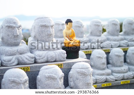 abandoned of buddha selective focus  - stock photo