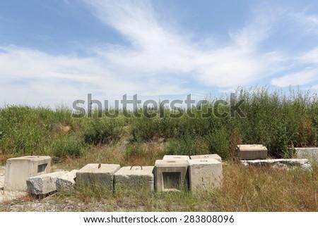 abandoned of concrete brick - stock photo
