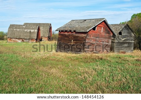 Abandoned old farm Two old granaries in the foreground and two barns in the background
