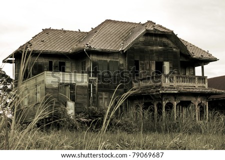 abandoned old house in Thailand - stock photo