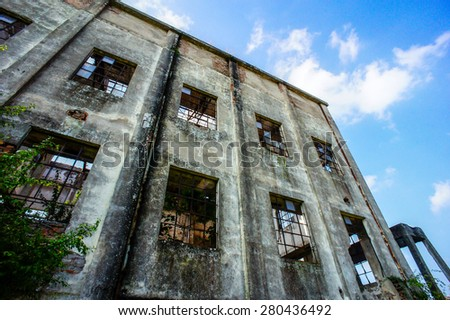 Abandoned Old Ruined Industrial Plant in Veneto Italy - stock photo