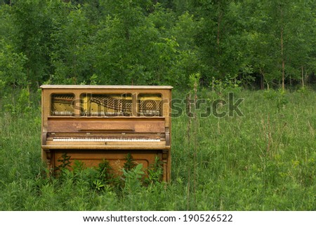 Abandoned Piano - in a meadow with copy space to the right. - stock photo