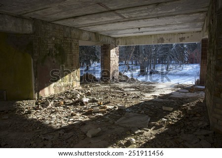 Abandoned place. The ruins of old crushed building - stock photo