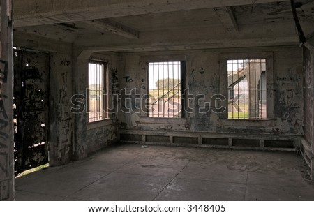 Abandoned Places - Inside of graffiti strewn old concrete bunker