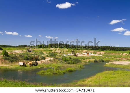 abandoned quarry - stock photo