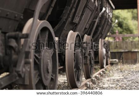 Abandoned Rail Cart at Disused Rail Yard - stock photo