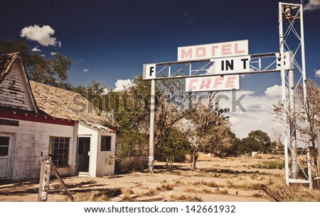 Abandoned restaraunt on route 66 in USA - stock photo