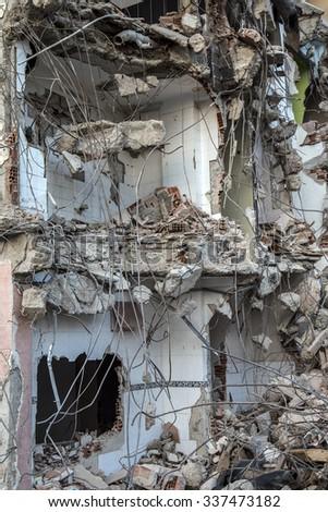 Abandoned Rundown Building Construction Area - stock photo