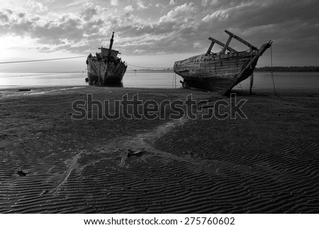 Abandoned Ship at Sabah Borneo Malaysia (Black & White).  Image has grain or blurry or noise and soft focus when view at full resolution. (Shallow DOF, slight motion blur)