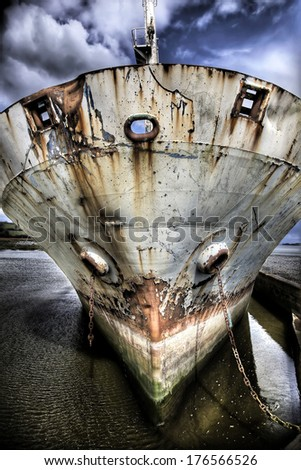 Abandoned ship at the river Shannon, Ireland - stock photo