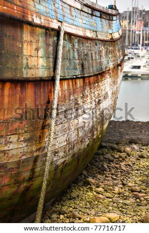 Abandoned ship in harbor, high density range image