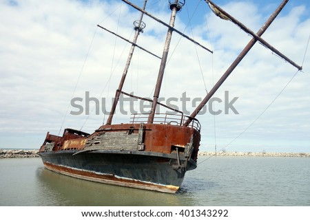 Abandoned ship wreck in the Lake Ontario - stock photo