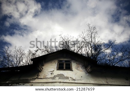 Abandoned spooky house - stock photo